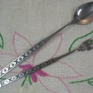 ONEIDA LISBON SEAFOOD FORK & ICED DRINK SPOON DISTINCTION STAINLESS FLATWARE SILVERWARE