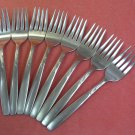 INTERNATIONAL BRENTWOOD GARDEN MANOR 8 SALAD FORKS STAINLESS FLATWARE SILVERWARE