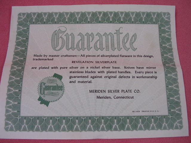 MERIDEN SILVER PLATE CO REVELATION SILVERPLATE GUARANTEE  FLATWARE SILVERWARE