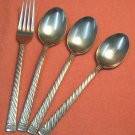 LEONARD SILVER MFG GADROON 3 PLACE SPOONS & FORK STAINLESS FLATWARE SILVERWARE