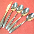 IMPERIAL MISTY ROSE STAINLESS  PLACE KNIFE & 4 PLACE SPOONS FLATWARE SILVERWARE