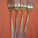 INTERNATIONAL CAMILLE DEEPSILVER 4 SALAD FORKS 1971 SILVERWARE FLATWARE