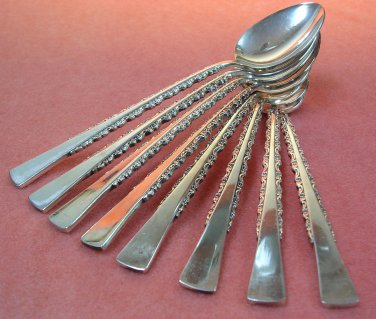 INTERNATIONAL CAMILLE DEEPSILVER 8 TEASPOONS 1971 SILVERWARE FLATWARE