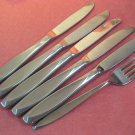 INTERNATIONAL NASSAU SALAD FORK &5 KNIVES INSICO STAINLESS FLATWARE SILVERWARE