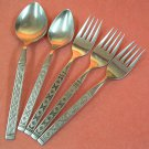 ONEIDA LISBON DISTINCTION 3 SALAD FORKS &2 SPOONS STAINLESS FLATWARE SILVERWARE