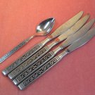 ONEIDA SPANISH COURT TEASPOON &4 KNIVES LTD 1881 ROGERS STAINLESS FLATWARE SILVERWARE