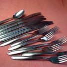 UTICA PRETTY TEASPOON 5 KNIVES &7 FORKS CUTLERY WALCO STAINLESS FLATWARE SILVERWARE