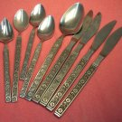 GOLD STANDARD NIGHT BLOSSOM 9pc STAINLESS FLATWARE SILVERWARE