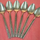 STANLEY ROBERTS CROWN EVENING LACE 6 TEASPOONS STAINLESS FLATWARE SILVERWARE