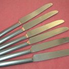 REED & BARTON 6 VINTAGE UNKNOWN KNIVES STAINLESS FLATWARE SILVERWARE