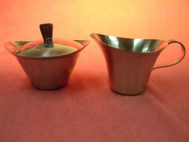 RIVIERA CORDOVAc CREAMER SUGAR DISH & LID STAINLESS TABLE WARE