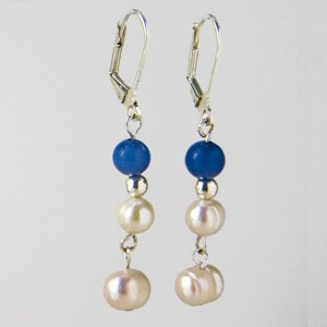 Pearl-aventurine earrings