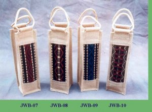Assorted Jute Wine Bags Set - 10 Bags