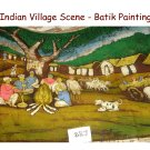 Indian Village Scene - Batik Painting