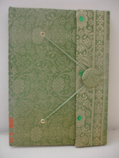 Indian Fabric Cover Handmade Paper Journals- Green