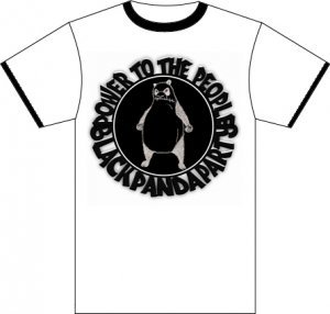 Black Panda Party Tee - white