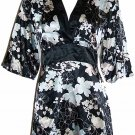 Flora Nikrooz Black Prints Short Robe Loungewear Medium