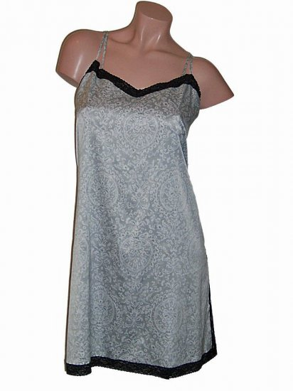 I Magnin Silver Sheath Slip Nightgown XL
