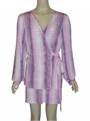 Josie Natori Pink Python Jacket Nightgown Set Medium