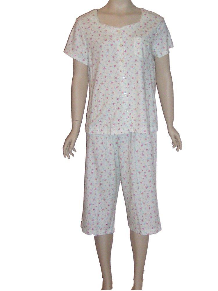 Karen Neuburger Green Floral Capri Pajama Set Small