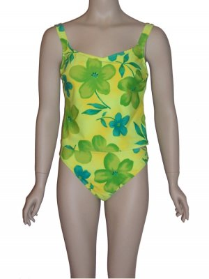 Curva Lime Floral Tankini Swimsuit 10 D-cup