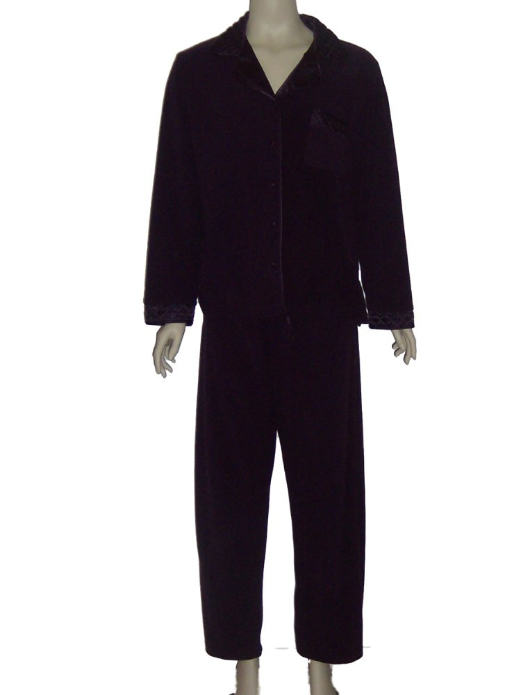 Jasmine Rose Purple Velour Pajama Set 519006 Large