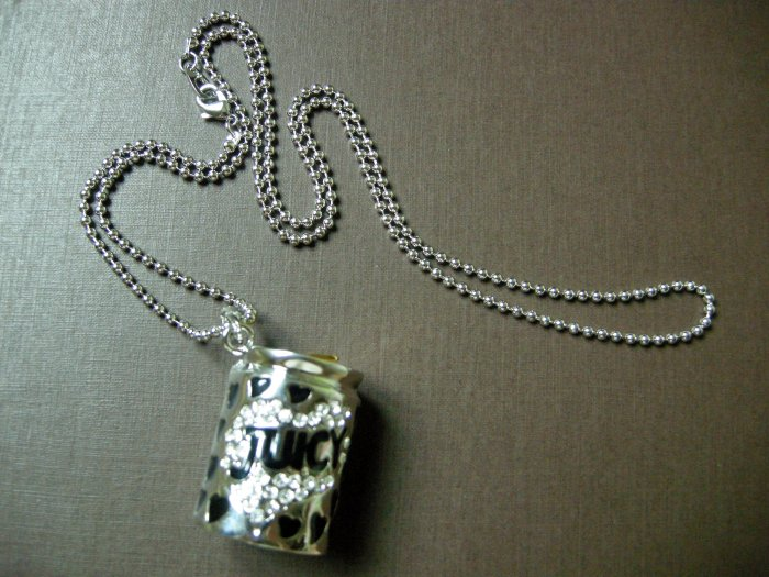 NIB Juicy Couture Silver-Tone Necklace w Softdrink Can