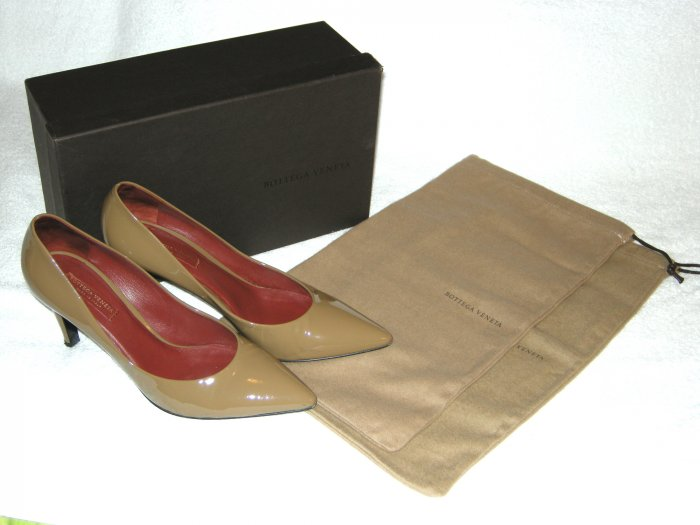 Bottega Veneta Light Brown Patent Pumps Heels 38.5