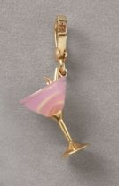 NIB Juicy Couture 14K Gold-Plated Martini Glass Charm