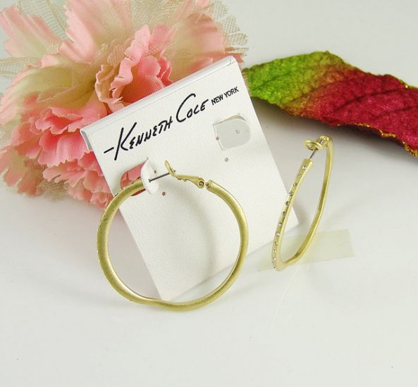 New Kenneth Cole Gold-Tone Hoop Earrings w CZ Stones
