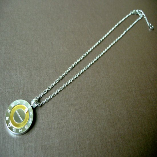 BVL Bvlgari Germany 316L Titanium Steel Astrology Necklace w Vacuum Ion Gold-Plating & CZ Stone