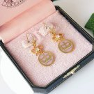 Juicy Couture Pink Crown & Bow Drop Earrings