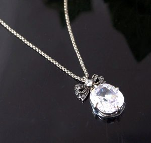 Juicy Couture Pave Bow Clear Crystal Drop Necklace