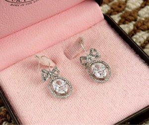 Juicy Couture Pave Ribbon Rhinestone Drop Earrings