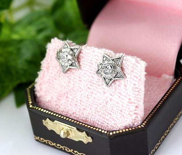 Juicy Couture Star Studs with JUICY banner Earrings
