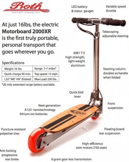 Go Motorboard 2000XR Electric Transporter Scooter NEW - Free US & Canada Shipping