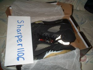 Air Jordan 5 V Retro black/silver/red size 8 air force 1 ect