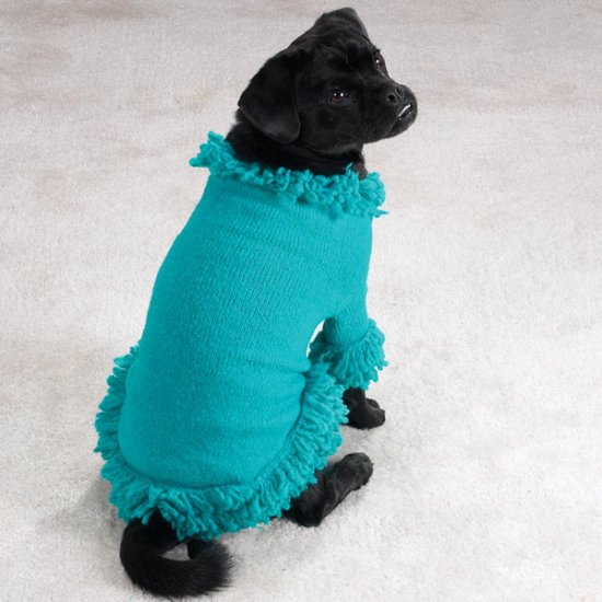 Doggie stretch knit sweater w/fringe