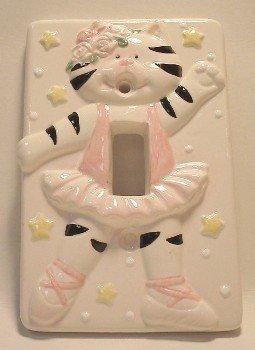 Ceramic Switchplate Ballerina Kitten