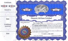 Oceanic Preferred Share Certificate