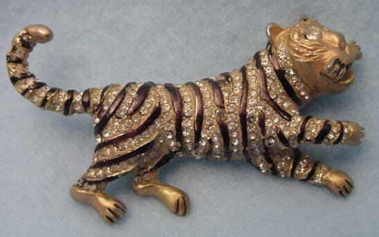 Vintage Crystal Tiger Pin