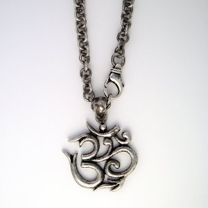 """Large Sterling Silver Ohm Om Necklace 20"""""""""""