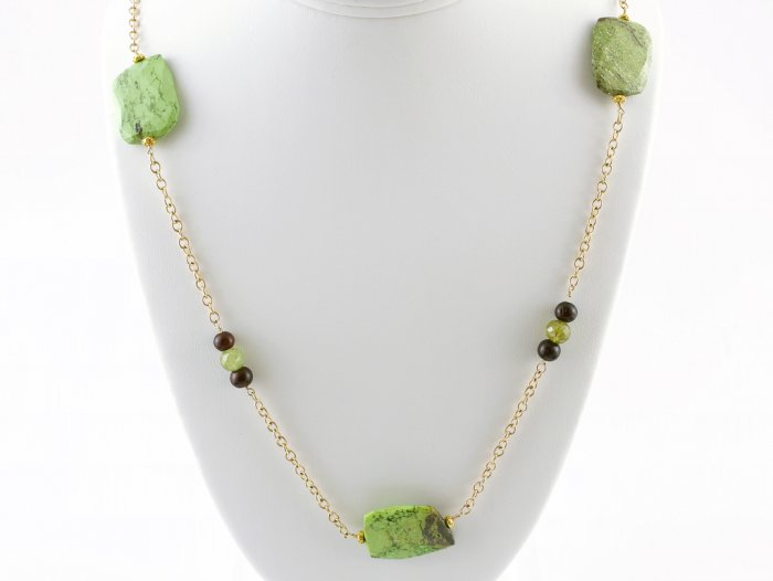 18k & Lime Green Gaspeite Necklace