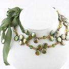 Kashi Pearls dark green Necklace or Belt