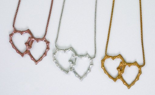 """Gold Bamboo Hearts Necklace 16"""""""""""