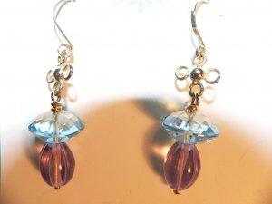 Blue Topaz & Amythest Earrings