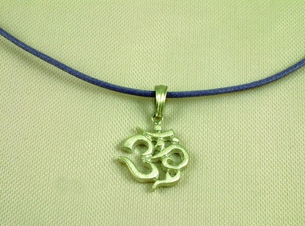 "Sterling Silver Ohm Om Necklace 16"""" Matte"