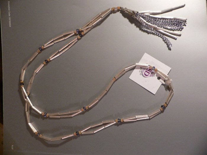 """Necklace 40"""""""" Sterling Silver Tube Beads"""