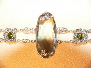 Faceted Green Amythest and 18k White Gold Bracelet