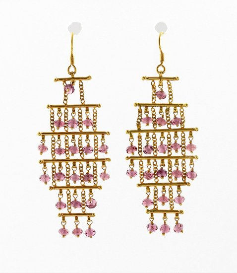 Six Tier Pink Tourmaline Chandelier Earrings